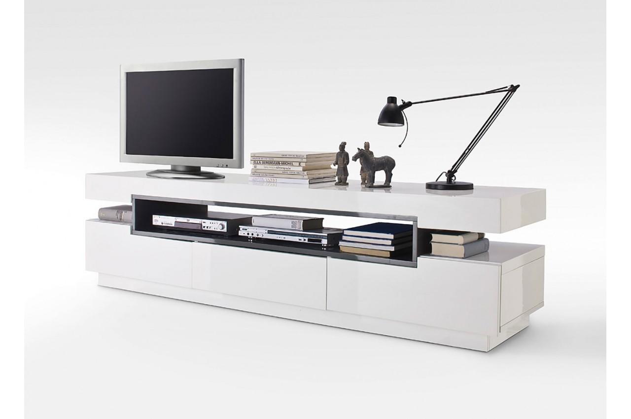 Meuble Tv Design Blanc Gris Laqu Novomeuble # Meuble Tv Blanc Et Gris Laque