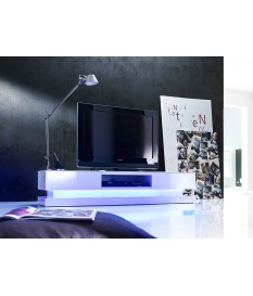 Meuble TV LED Laqué Blanc Design