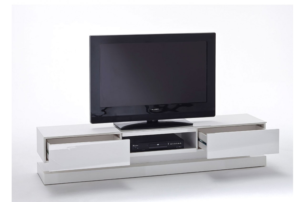 Meuble Tv Led Laqu Blanc Design Novomeuble # Meuble Tv Blanc Laque Led