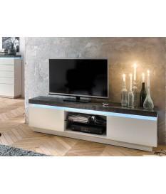 Meuble TV Lumineux Gris et Blanc