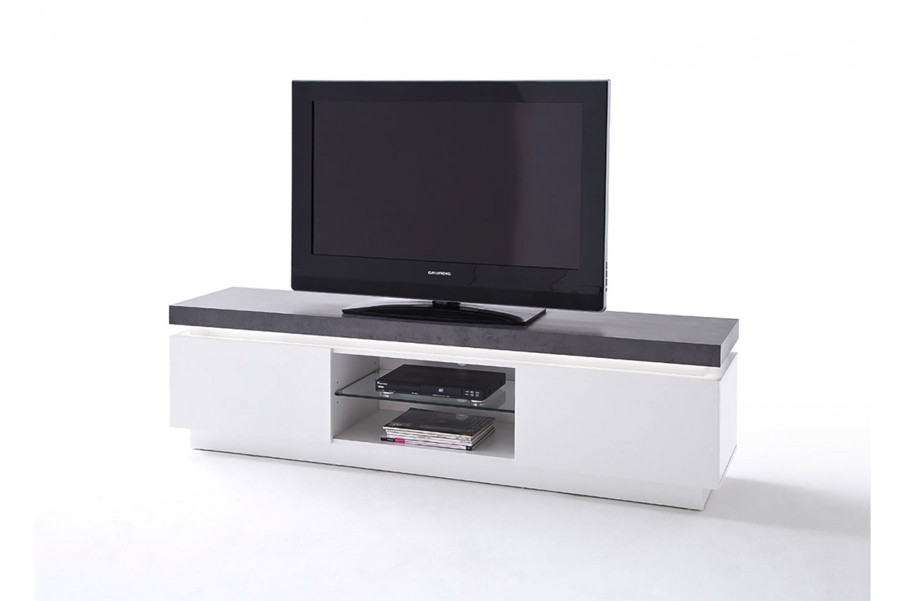 meuble tv lumineux gris et blanc pour salon. Black Bedroom Furniture Sets. Home Design Ideas