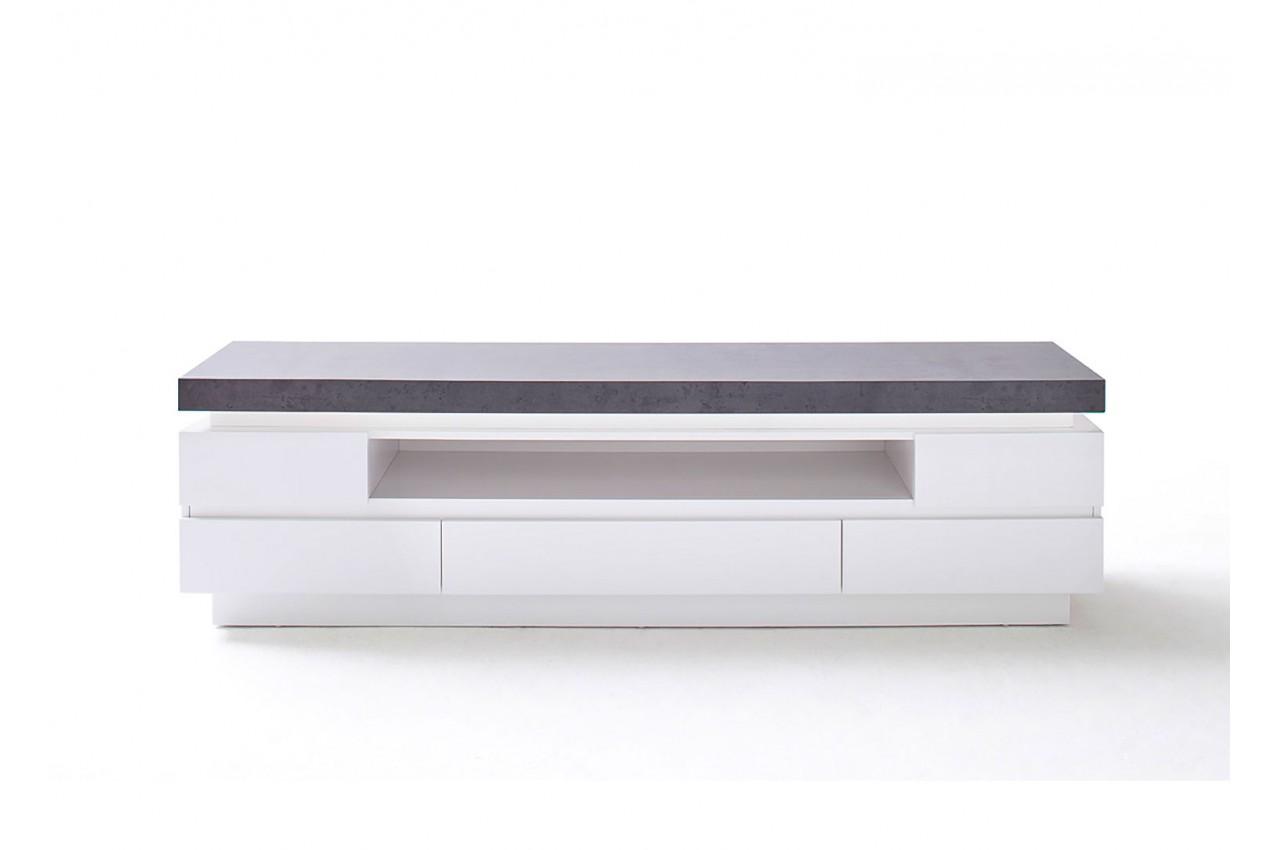 Meuble Tv Led Gris Et Blanc Novomeuble # Meuble Tv Effet Beton