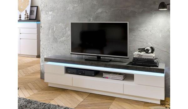 Meuble TV LED Gris et Blanc