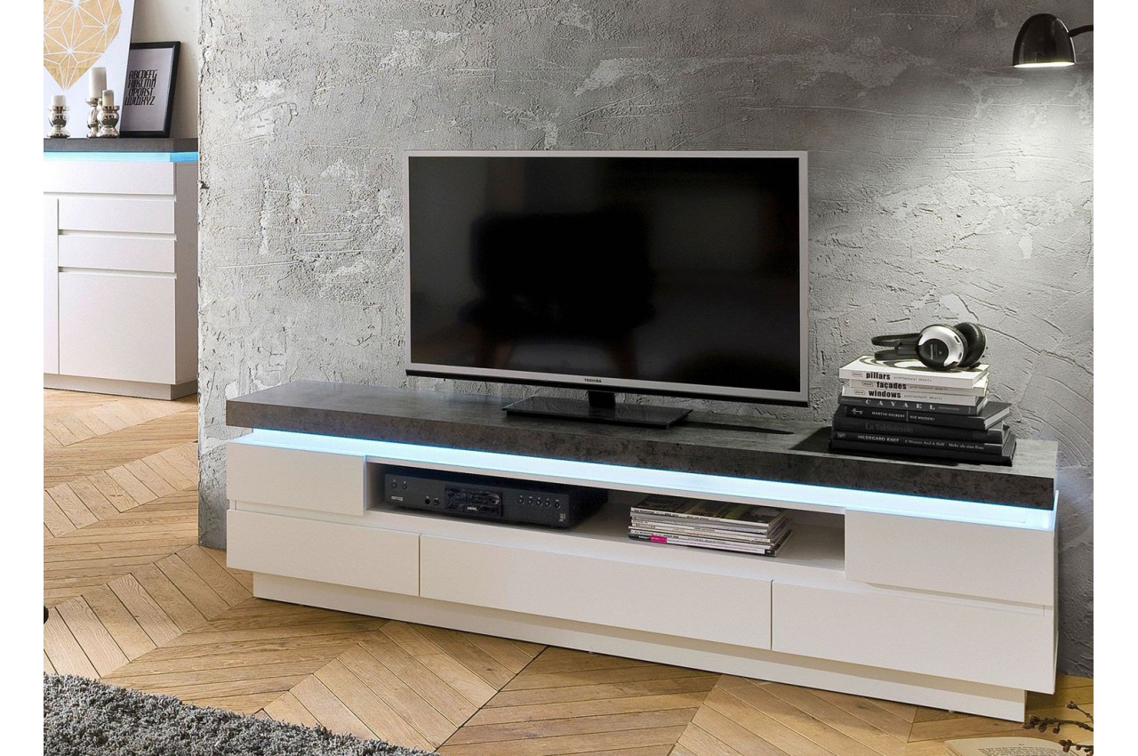 Meuble Tv Led Gris Et Blanc Novomeuble # Meuble Tv Gris Beton