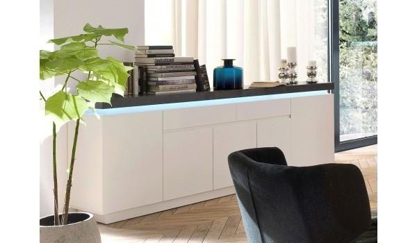 Buffet 200 cm Gris et Blanc Lumineux