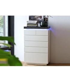 Commode 6 Tiroir Gris et Blanc Laqué LED