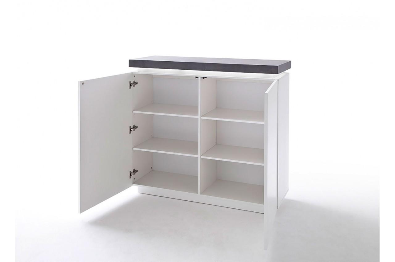 commode 2 portes grise et blanche laqu e led pour salon. Black Bedroom Furniture Sets. Home Design Ideas