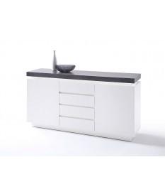 Buffet 150 cm Gris et Blanc Laqué