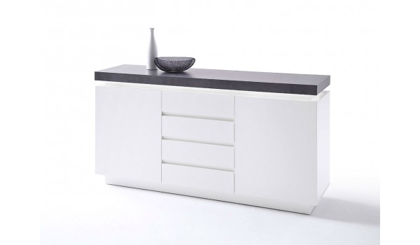 buffet 150 cm gris et blanc laqu novomeuble. Black Bedroom Furniture Sets. Home Design Ideas