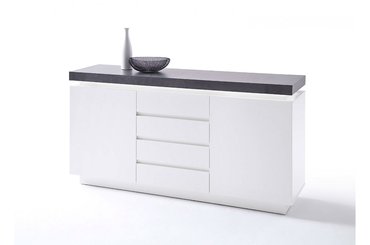 buffet 150 cm gris et blanc laqu pour salle manger. Black Bedroom Furniture Sets. Home Design Ideas