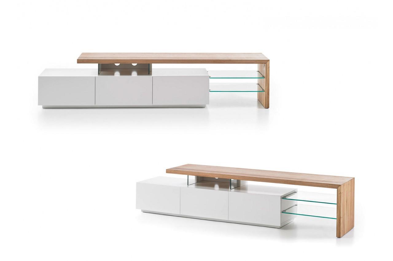Meuble tv design bois et blanc novomeuble for Meuble tv design bois