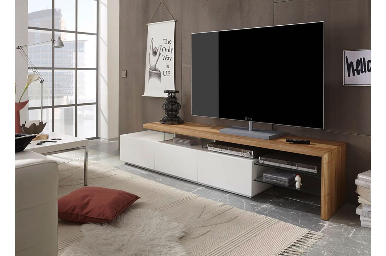 meuble tv design bois et blanc novomeuble. Black Bedroom Furniture Sets. Home Design Ideas