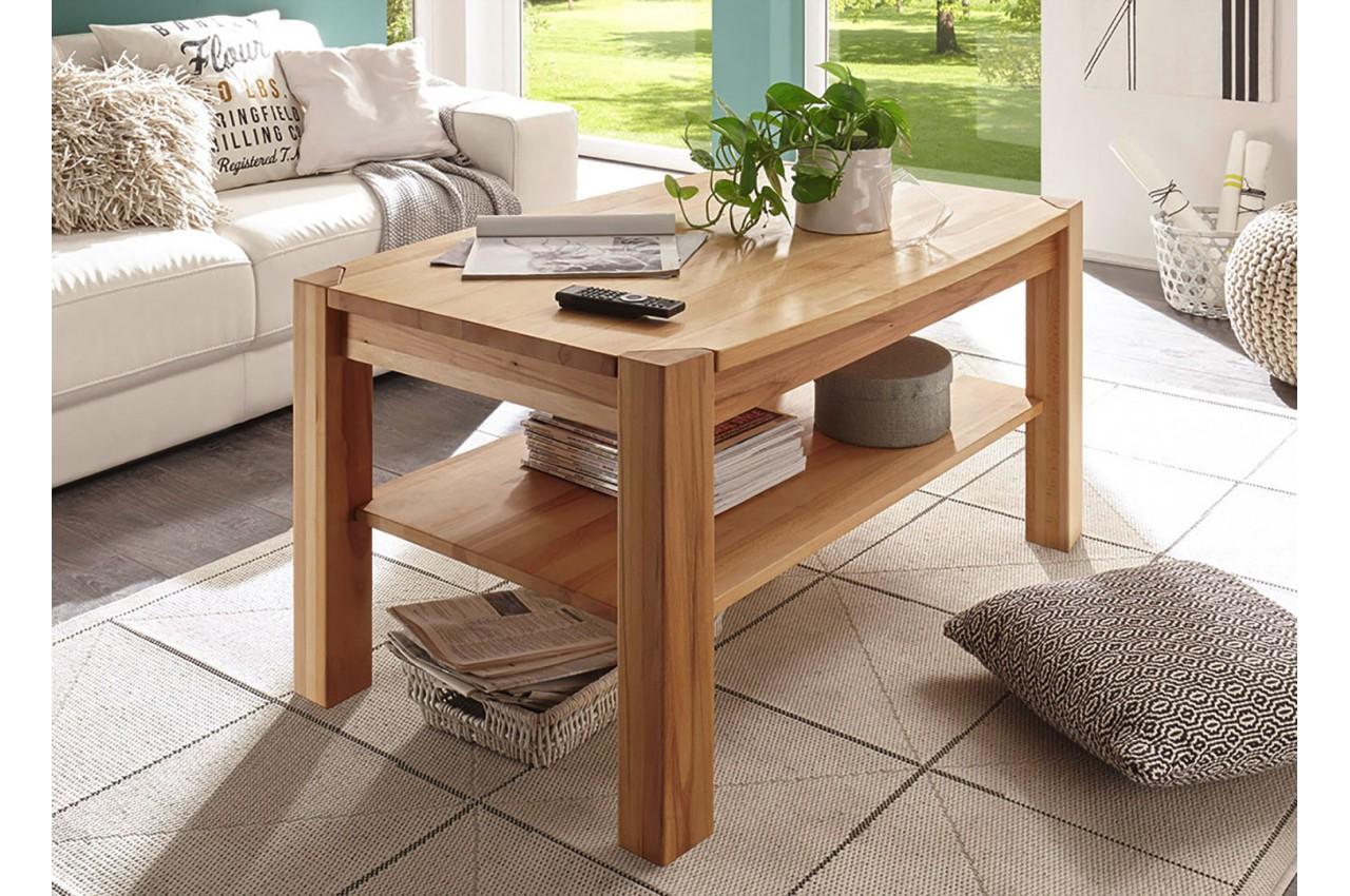 Table basse rectangulaire en bois massif pour salon - Salon en bois massif ...