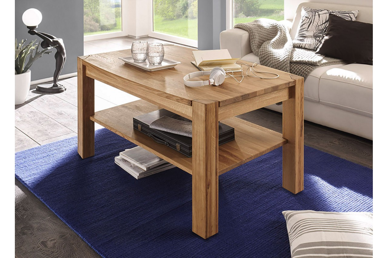 table basse rectangulaire en bois massif pour salon