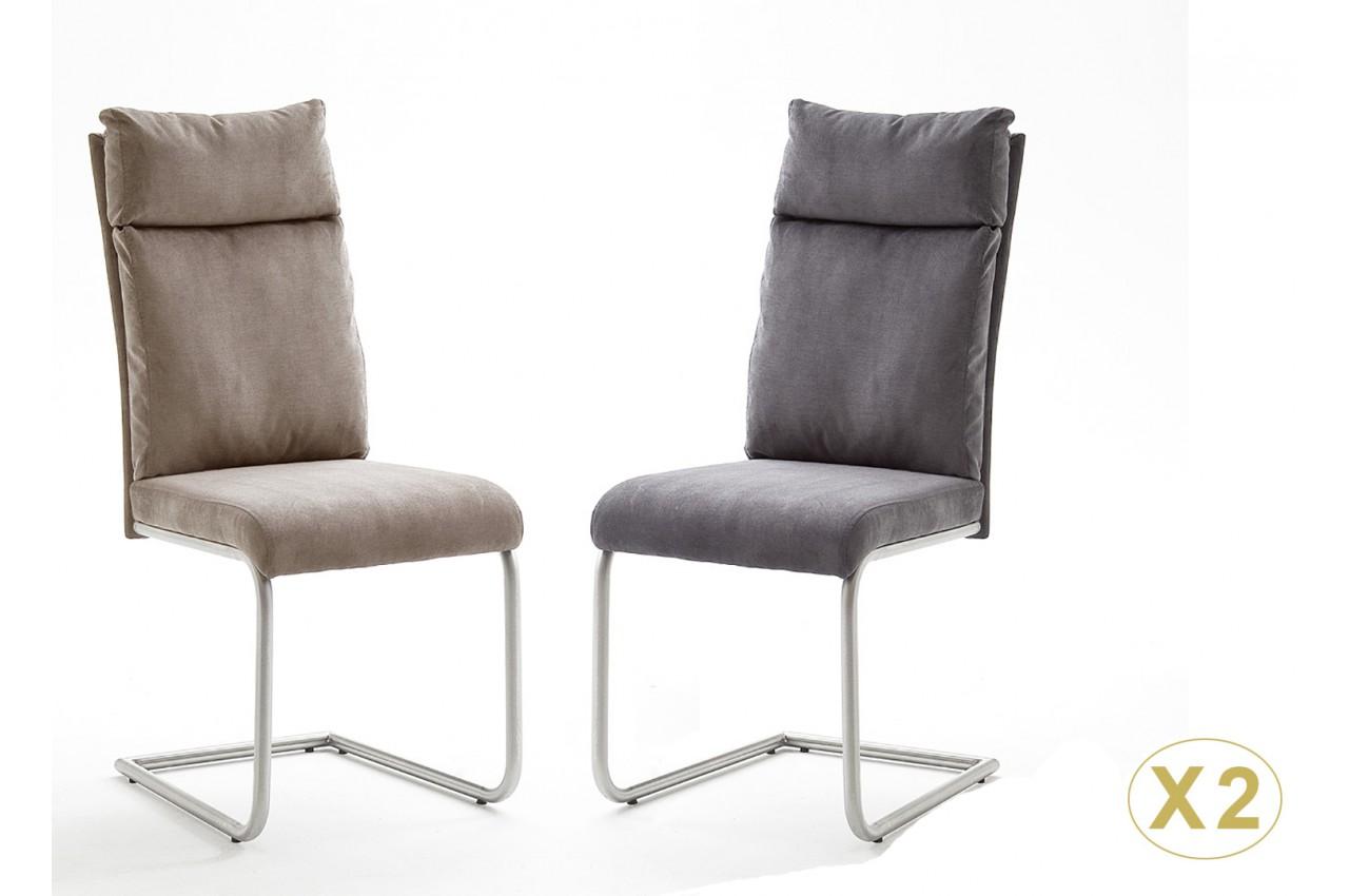Chaise Tissu Gris ou Marron Clair avec Poignée Novomeuble