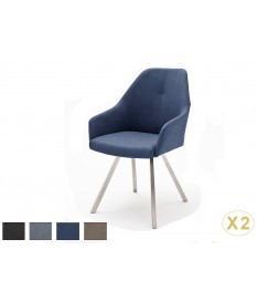 Chaises avec Accoudoirs Simili cuir Pied Inox