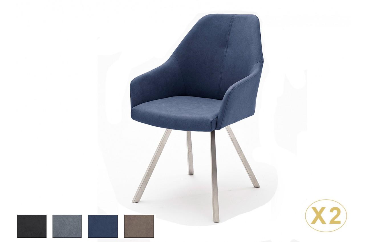 chaises avec accoudoirs simili cuir pied inox novomeuble. Black Bedroom Furniture Sets. Home Design Ideas