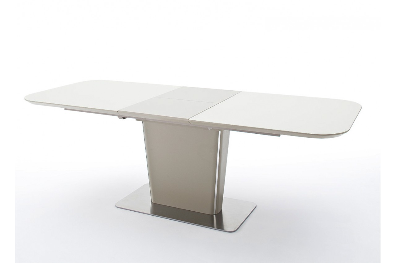 table manger verre taupe laqu mat acier bross novomeuble. Black Bedroom Furniture Sets. Home Design Ideas