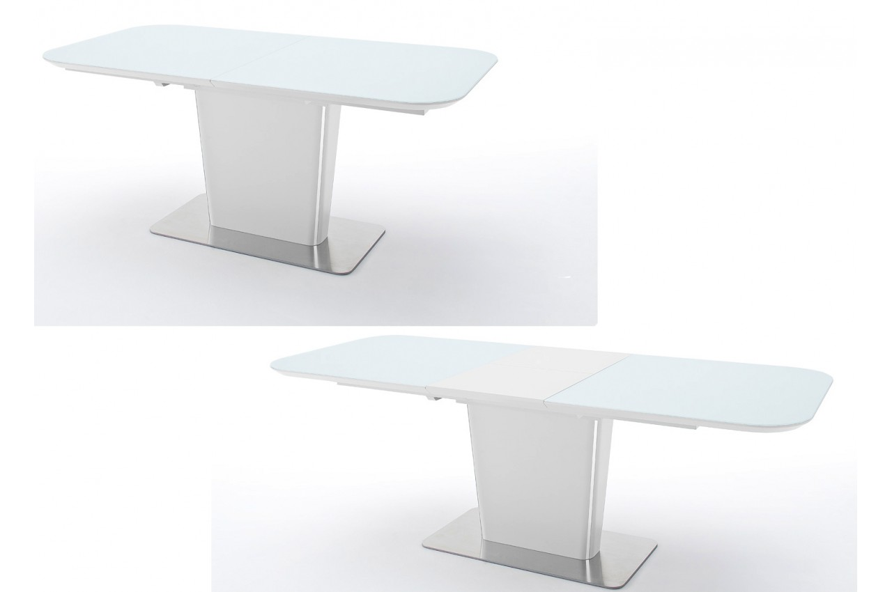 Table manger en verre blanc laqu mat acier bross for Table verre blanc extensible