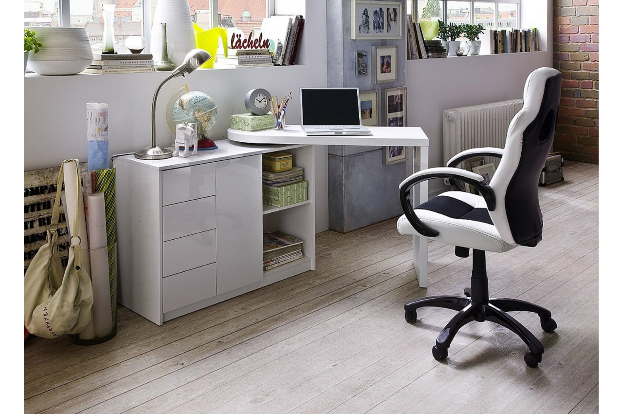 Bureau Moderne Blanc avec Rangement pour chambre enfant & ado
