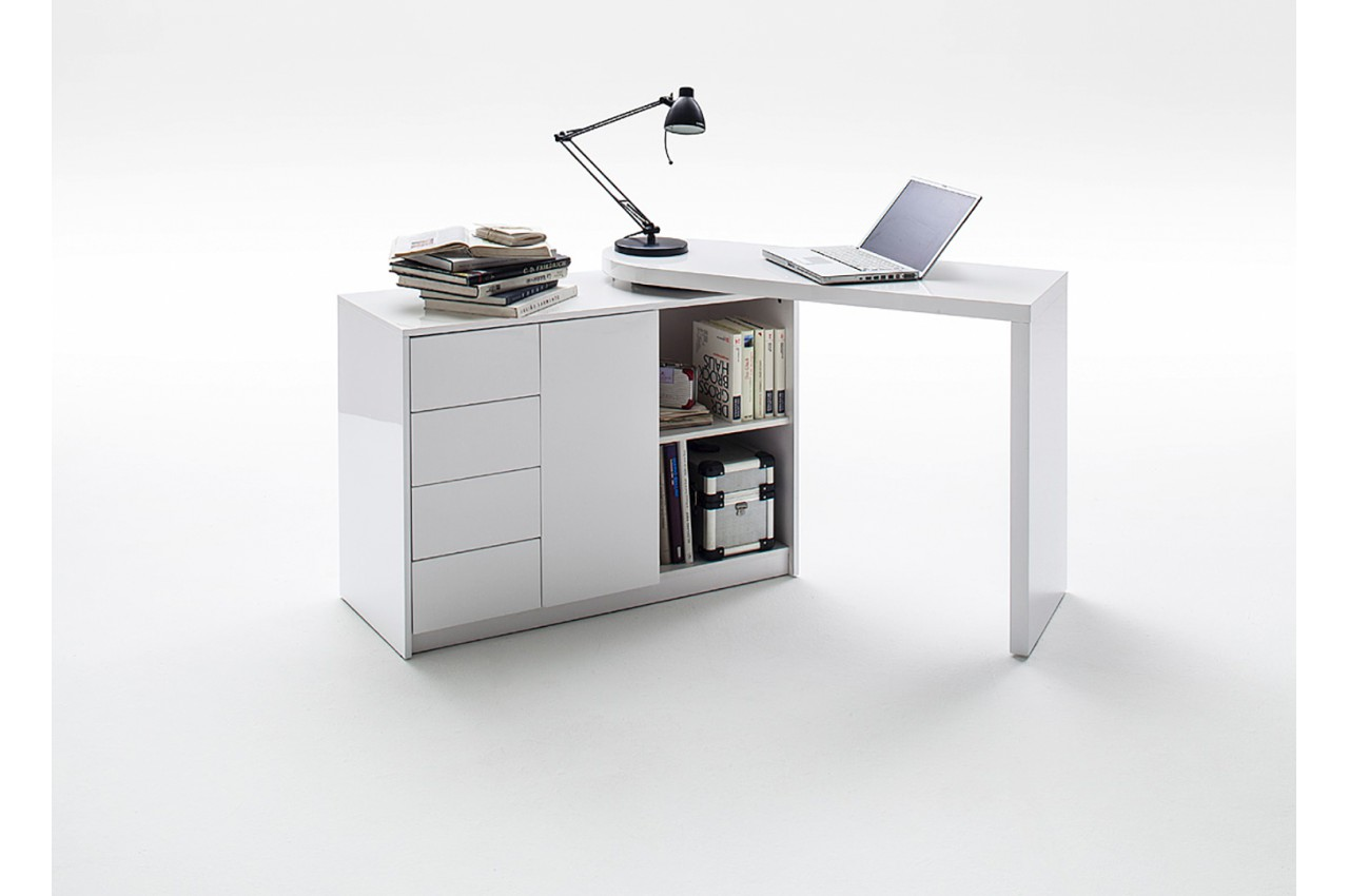bureau moderne blanc avec rangement novomeuble. Black Bedroom Furniture Sets. Home Design Ideas