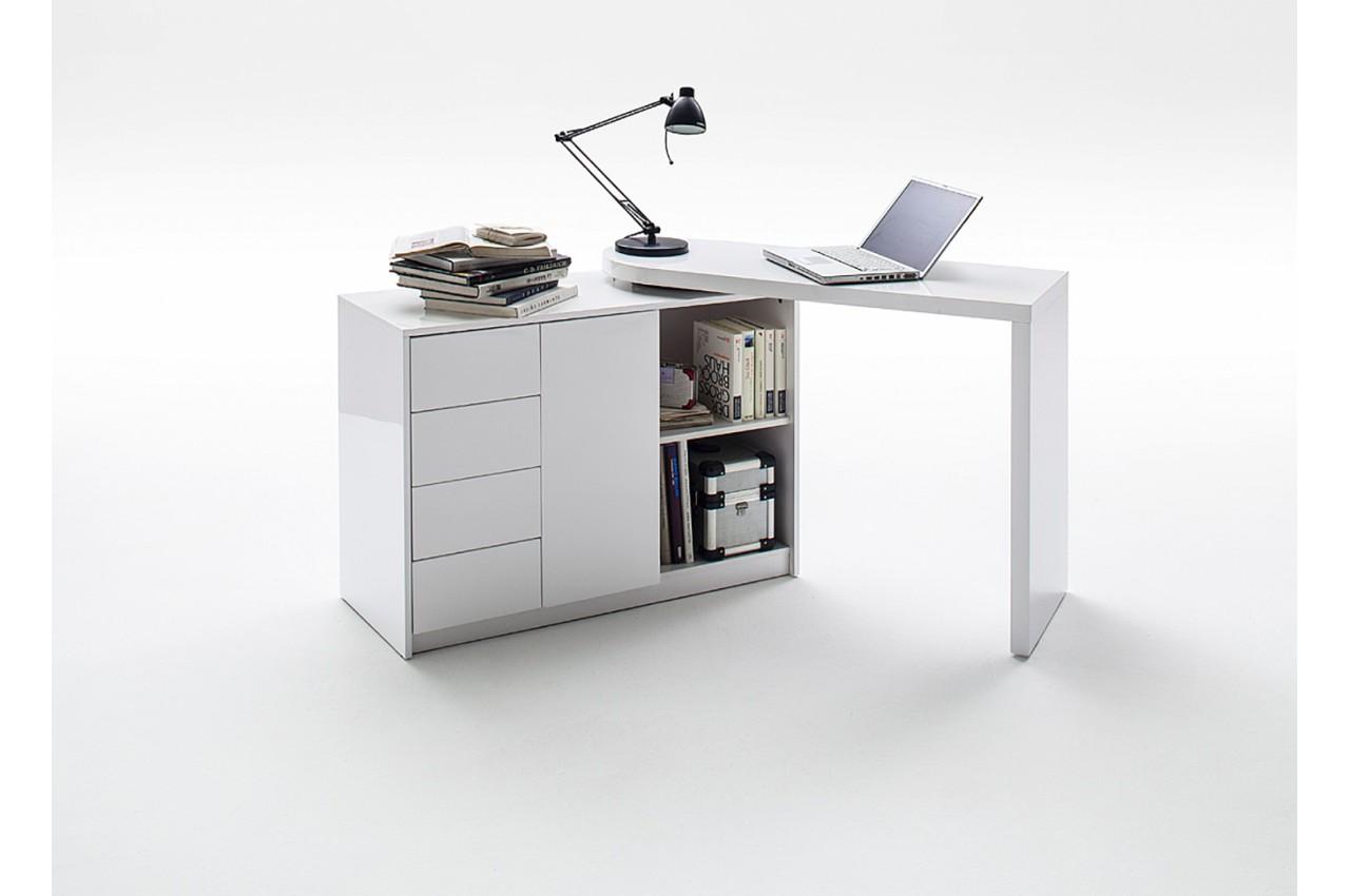 Bureau moderne blanc avec rangement novomeuble for Bureau blanc rangement