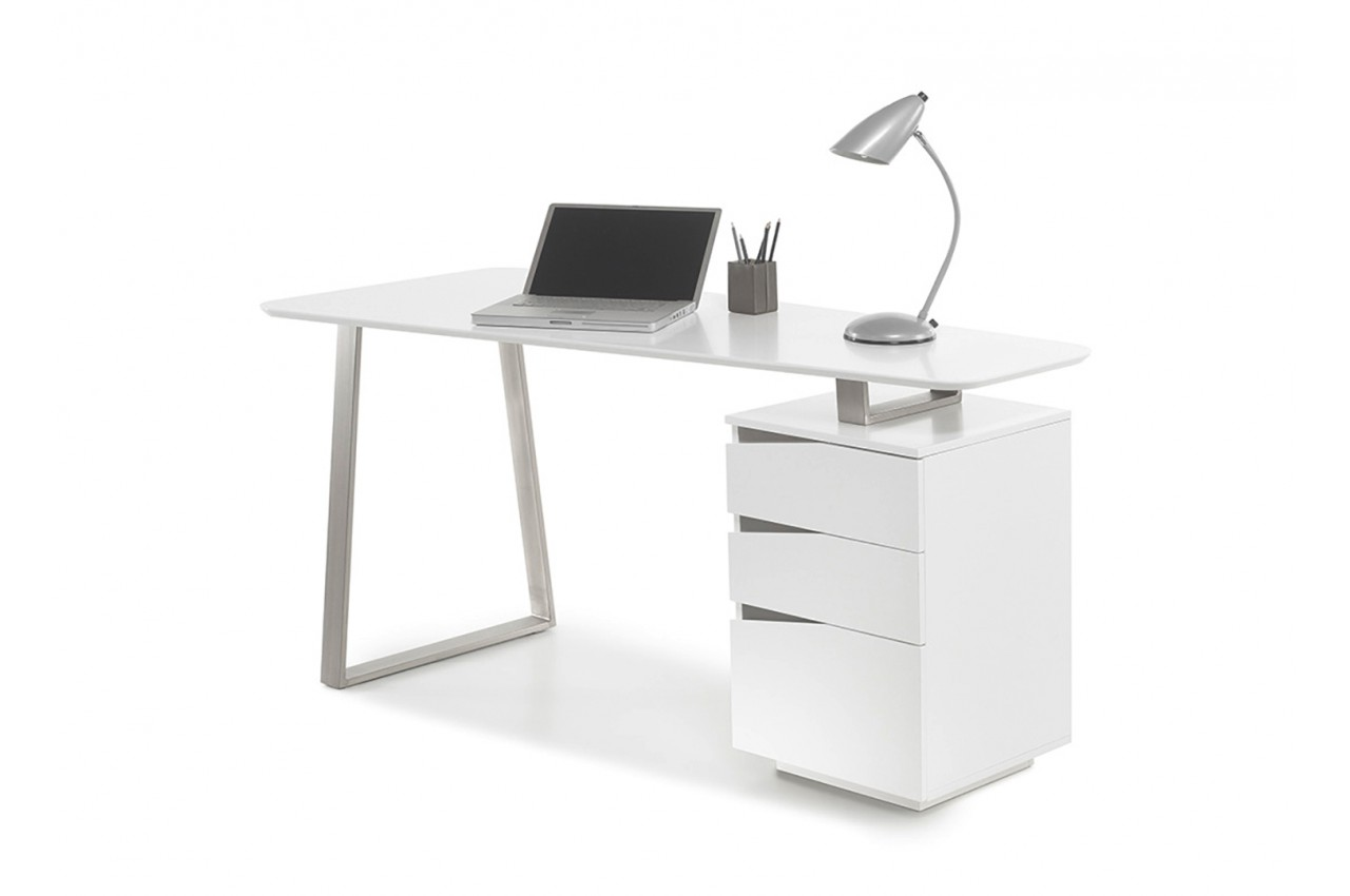 Bureau d 39 ordinateur blanc laqu mat novomeuble for Meuble bureau blanc