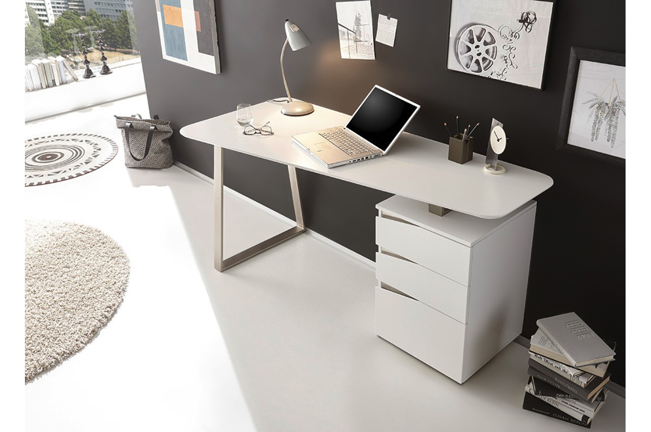 bureau d 39 ordinateur blanc laqu mat novomeuble. Black Bedroom Furniture Sets. Home Design Ideas