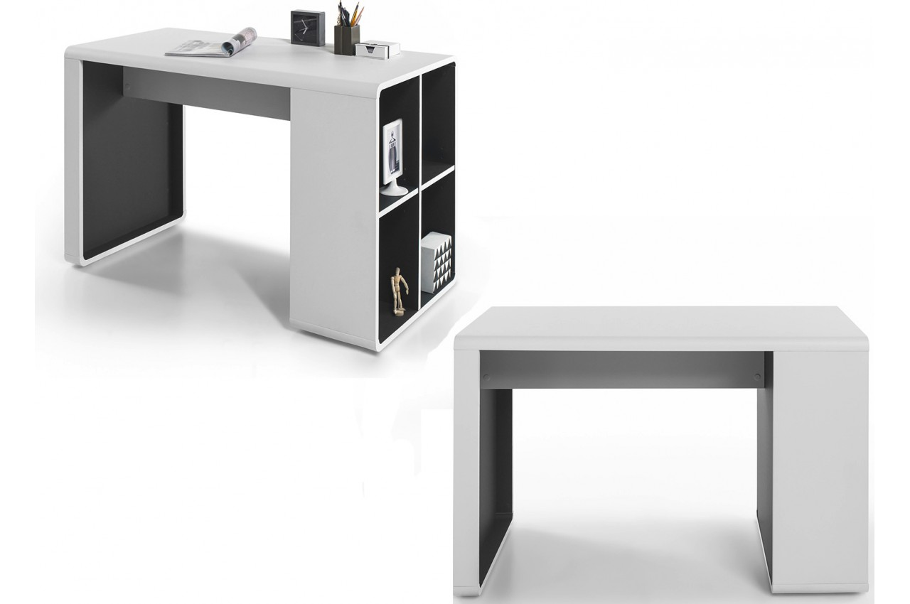 bureau design blanc gris novomeuble. Black Bedroom Furniture Sets. Home Design Ideas