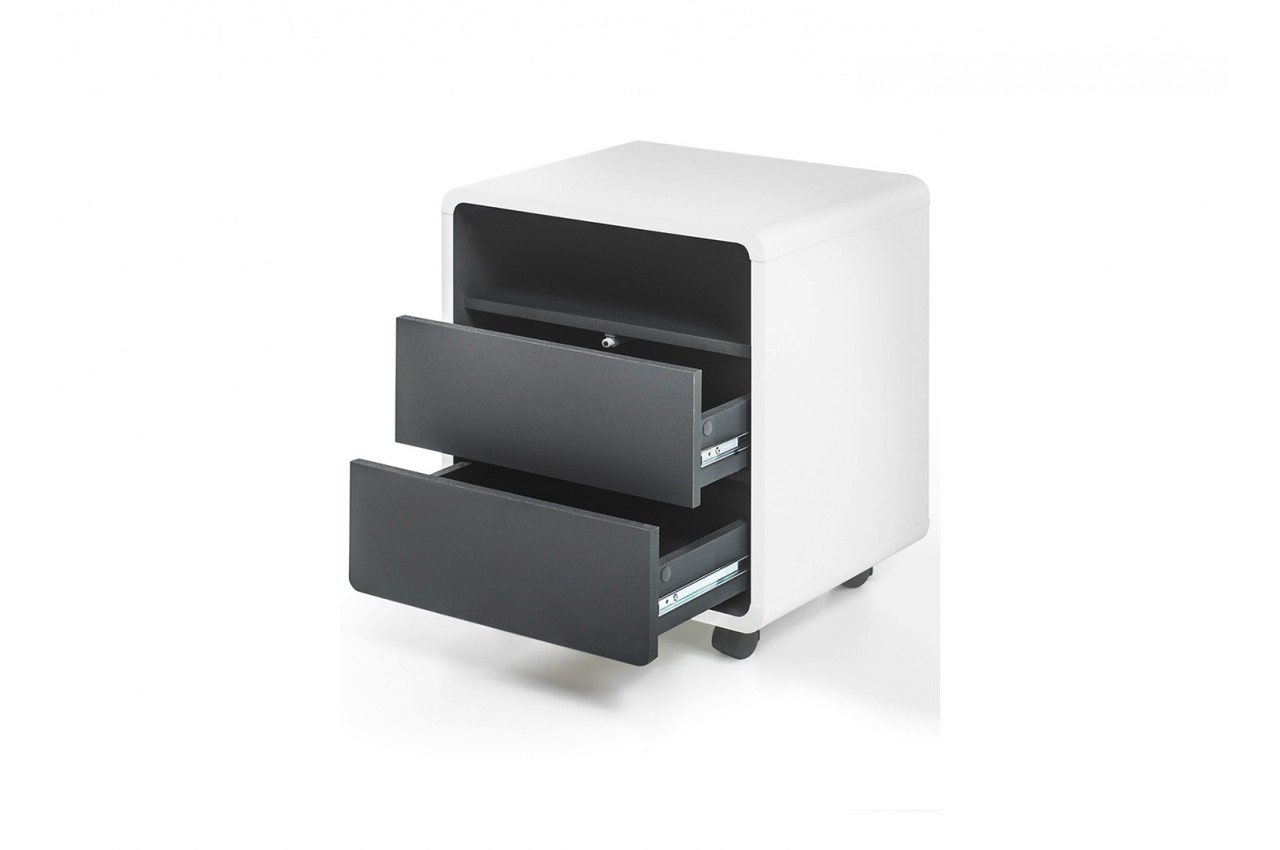 bureau design blanc gris novomeuble. Black Bedroom Furniture Sets. Home Design Ideas