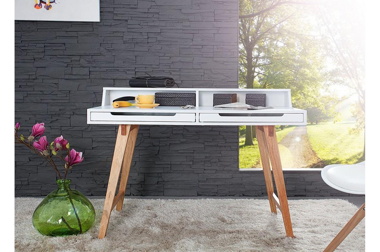 meuble secr taire blanc laqu bois novomeuble. Black Bedroom Furniture Sets. Home Design Ideas