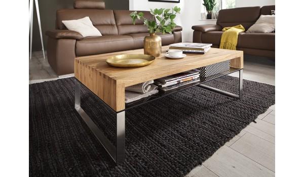 Table Basse De Salon En Bois Verre Et Acier