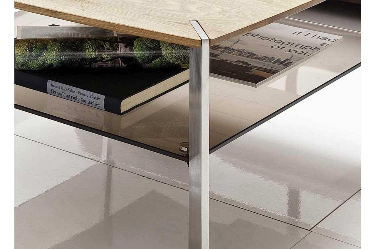 table basse carr e en bois verre et acier pour salon. Black Bedroom Furniture Sets. Home Design Ideas