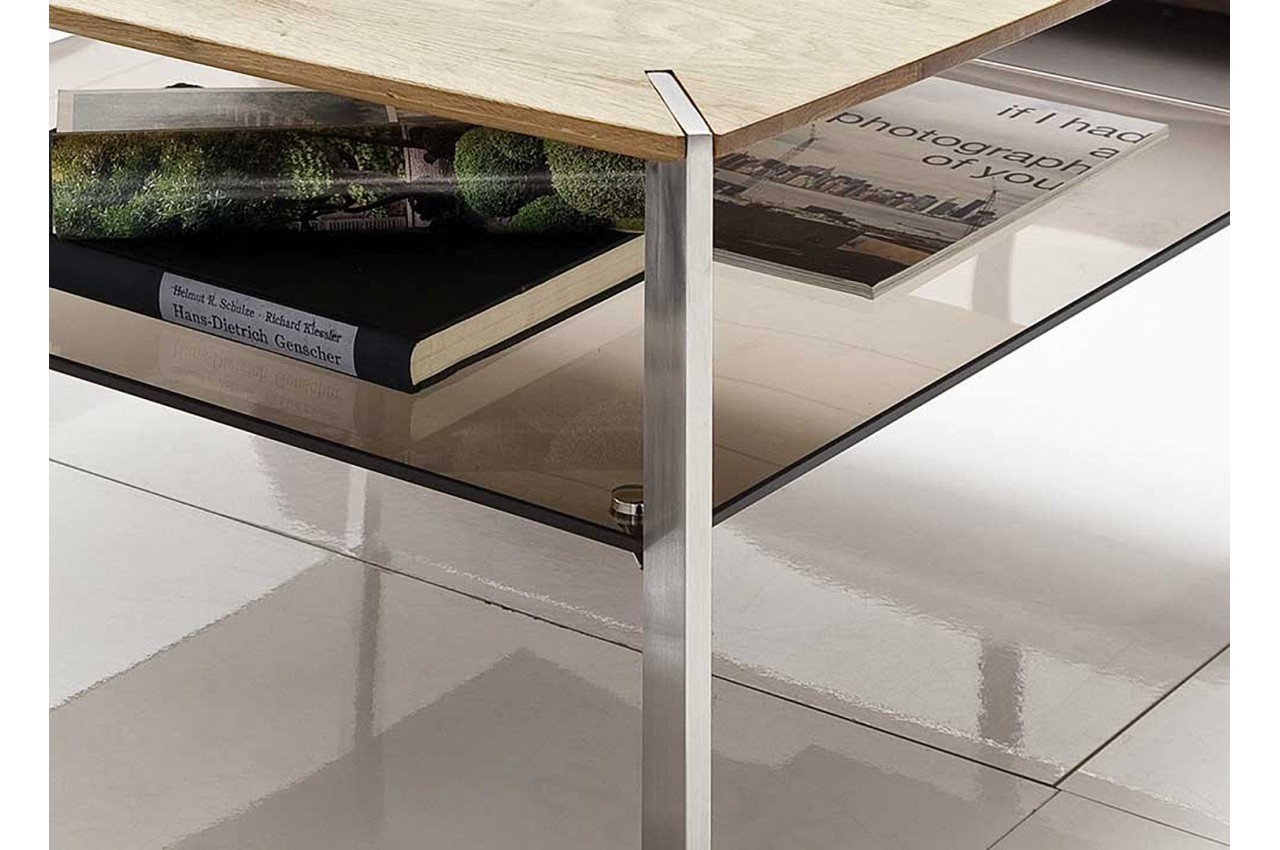 table basse carr e en bois verre et acier novomeuble. Black Bedroom Furniture Sets. Home Design Ideas