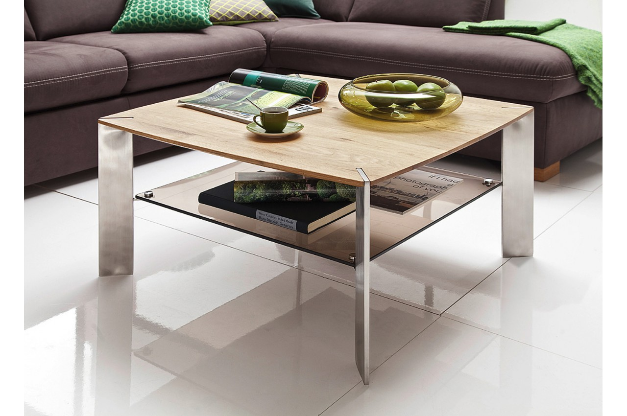 table basse carr e en bois verre et acier pour salon. Black Bedroom Furniture Sets. Home Design Ideas