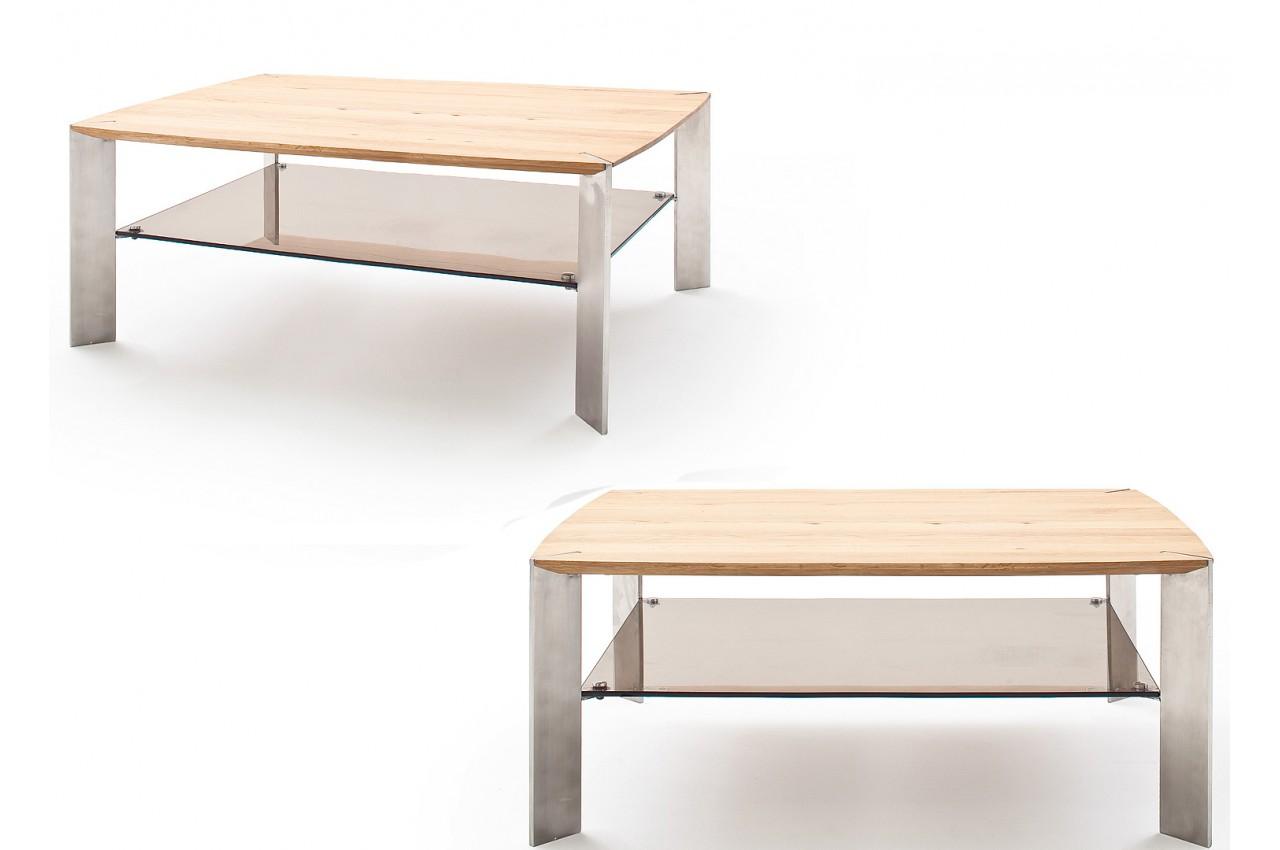 table basse rectangulaire en bois verre et acier pour salon. Black Bedroom Furniture Sets. Home Design Ideas