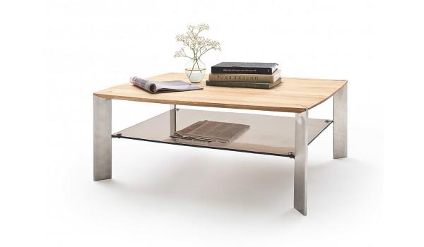 Table Basse Rectangulaire en Bois Verre et Acier