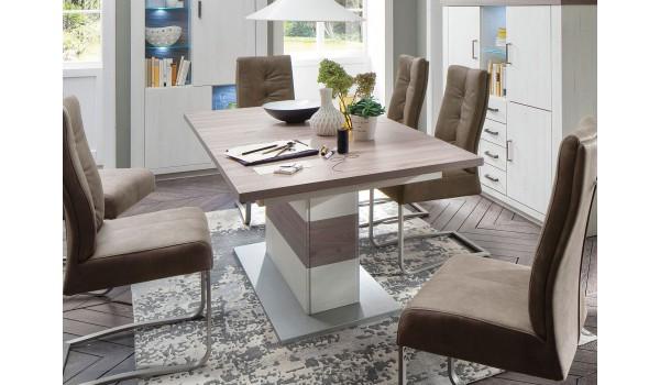 Table à Rallonge Moderne Blanche & Bois Effet 3D