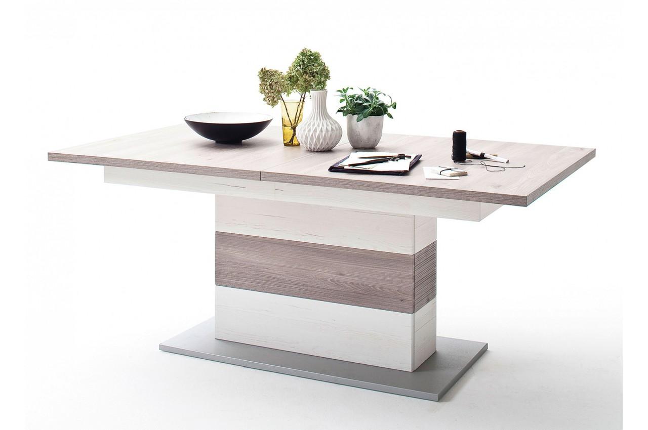 Table rallonge moderne blanche bois effet 3d pour Table moderne avec rallonge