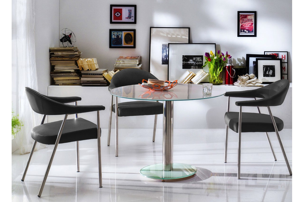 table ronde en verre 5 coloris modernes pour salle manger. Black Bedroom Furniture Sets. Home Design Ideas