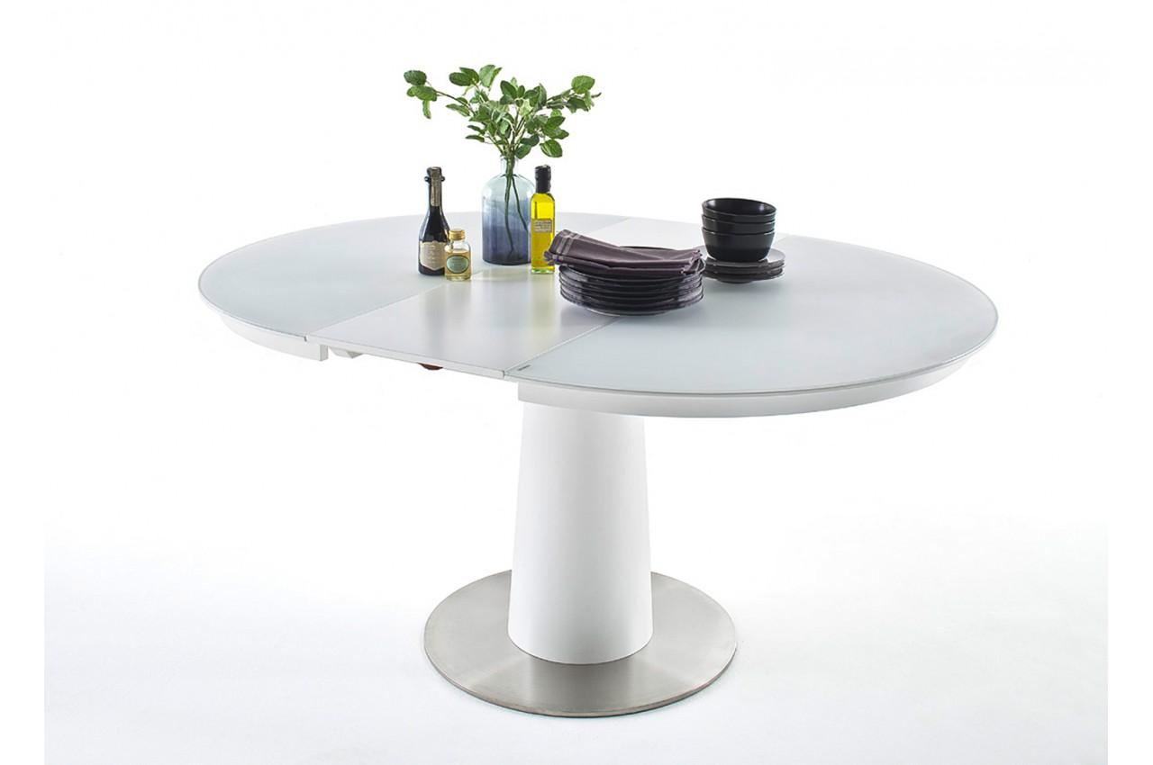 Table en verre ronde avec rallonge pour salle manger for Table verre