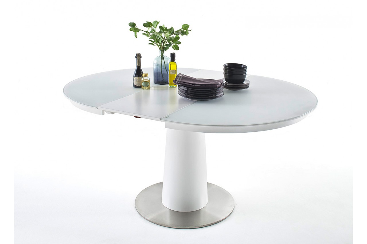 table en verre ronde avec rallonge pour salle manger. Black Bedroom Furniture Sets. Home Design Ideas