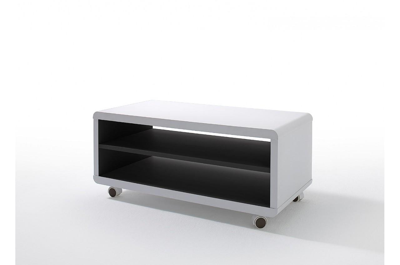 Meuble Tv 224 Roulettes Blanc Et Noir Pour Salon