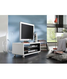 Meuble TV à Roulettes Blanc et Noir