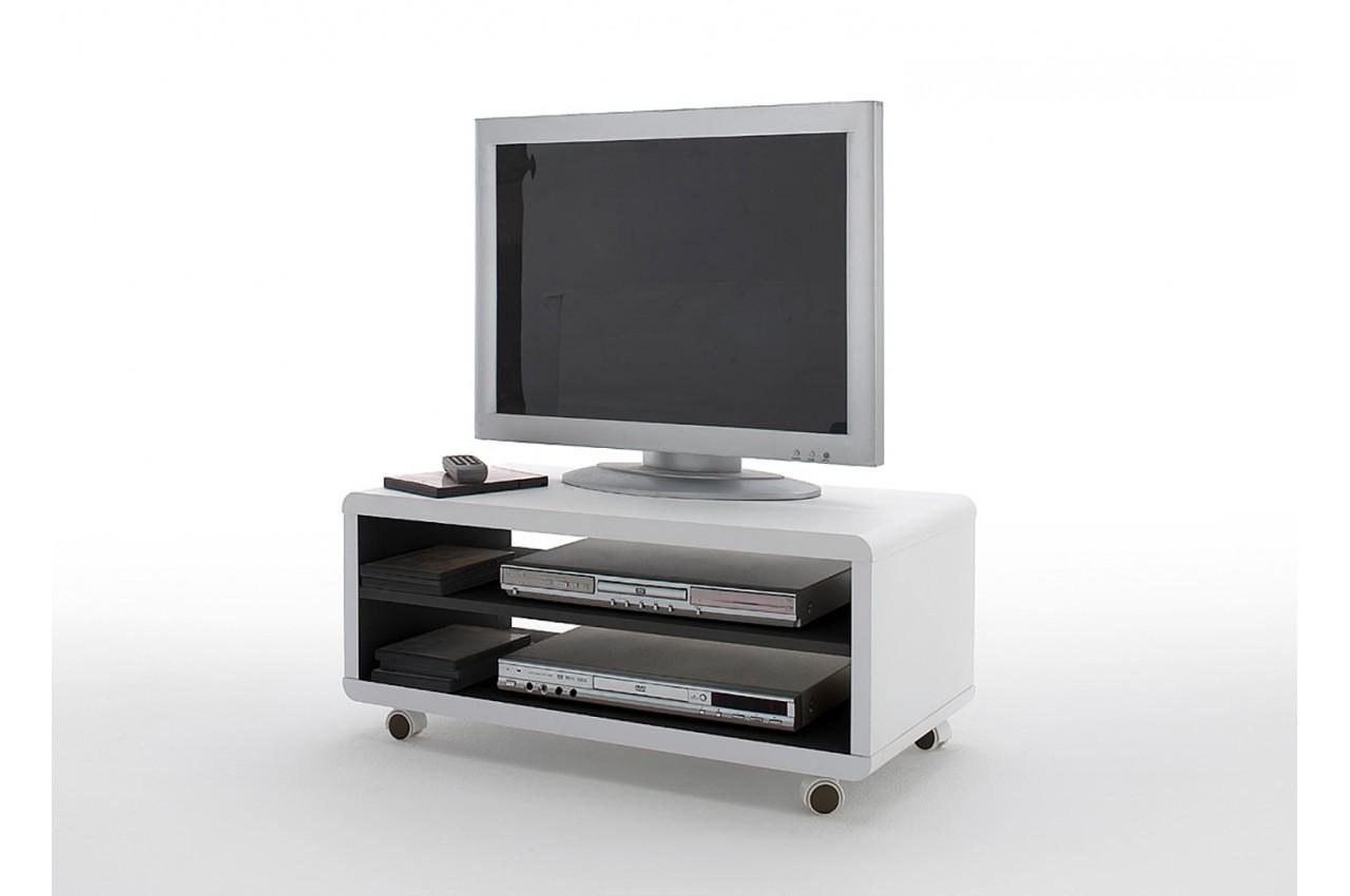 Meuble Tv à Roulettes Blanc Et Noir Pour Salon