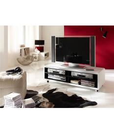 Meuble TV Roulettes Blanc et Noir