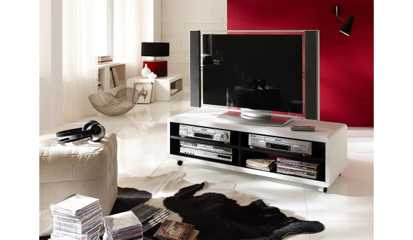 meuble tv roulettes blanc et noir novomeuble. Black Bedroom Furniture Sets. Home Design Ideas