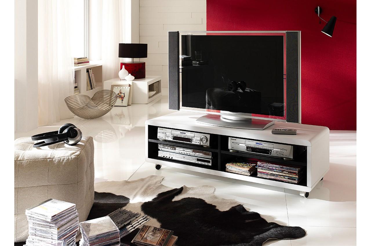 Meuble Tv Roulettes Blanc Et Noir Novomeuble # Meuble Tv Noir A Roulette