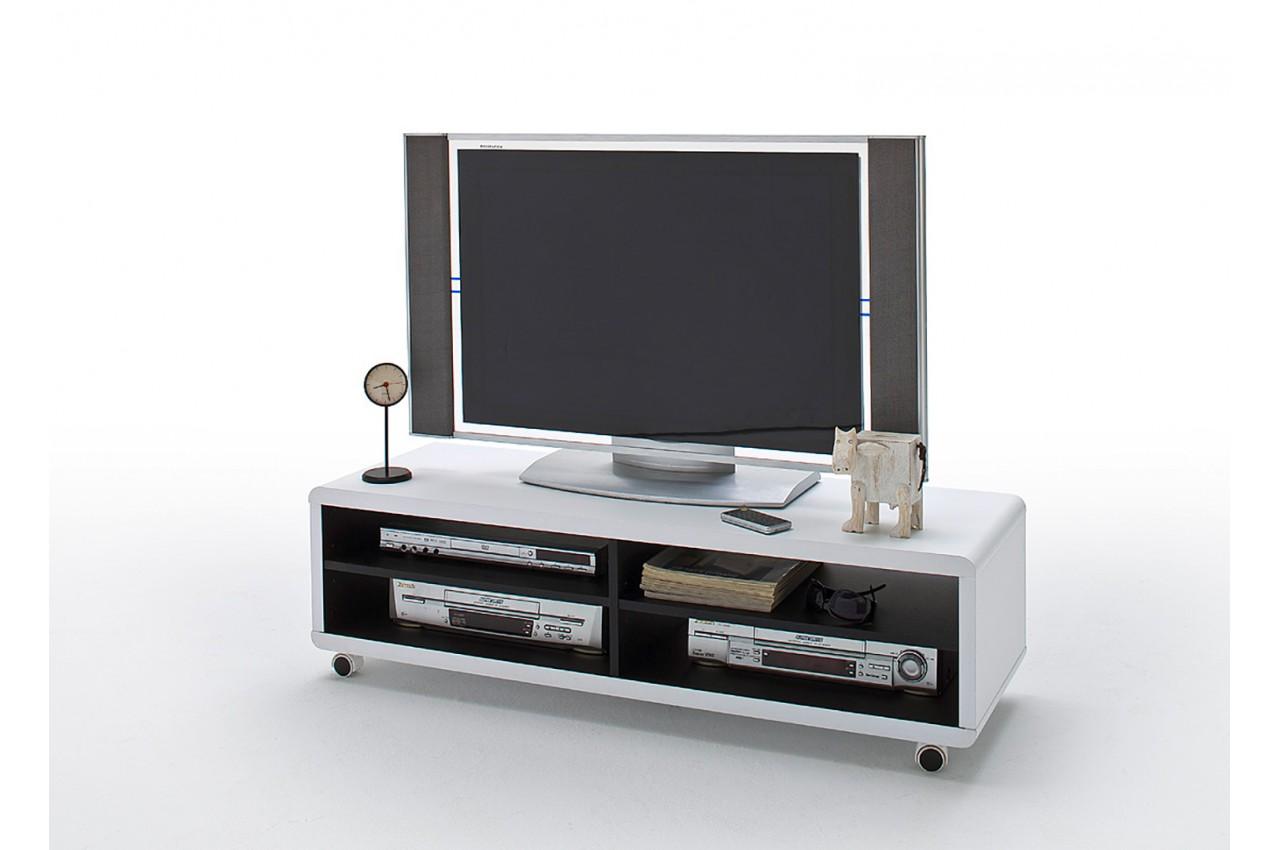 Meuble Tv Roulettes Blanc Et Noir Novomeuble # Meuble Tv Sur Roulette