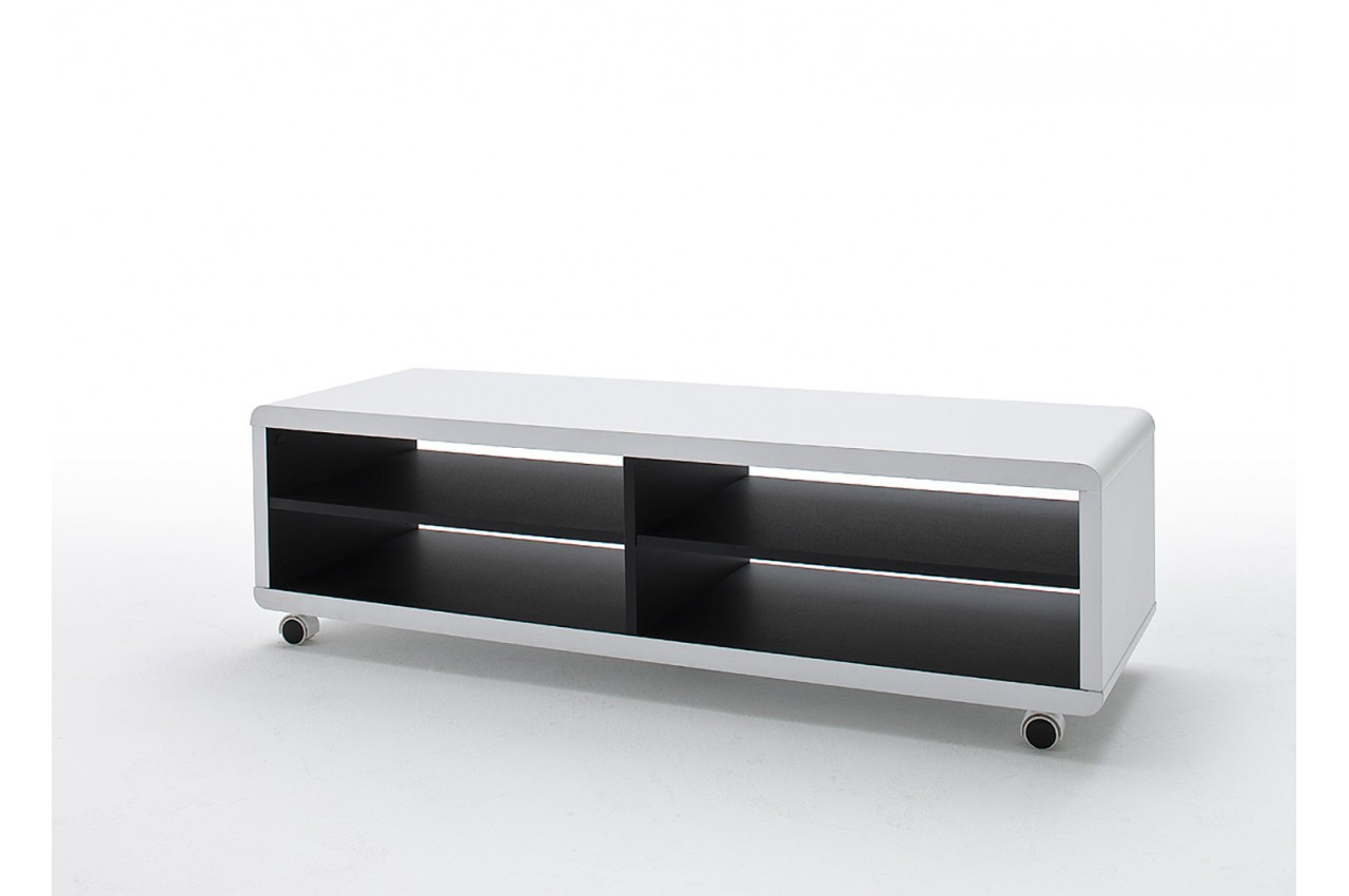 meuble tv roulettes blanc et noir pour meuble tv. Black Bedroom Furniture Sets. Home Design Ideas